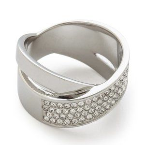 🎁 MICHAEL KORS Silver Criss-Cross Pave Band Ring